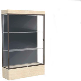 "Edge Lighted Floor Case, Slate Back, Dark Bronze Frame, 12"" Chardonnay Base, 48""W x 76""H x 20""D"