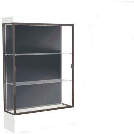 """Edge Lighted Floor Case, Slate Back, Dark Bronze Frame, 12"""" Frosty White Base, 48""""W x 76""""H x 20""""D"""