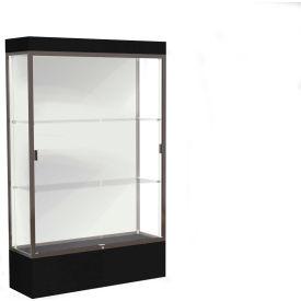 """Edge Lighted Floor Case, White Back, Dark Bronze Frame, 12"""" Black Base, 48""""W x 76""""H x 20""""D"""