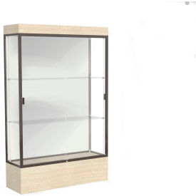 "Edge Lighted Floor Case, White Back, Dark Bronze Frame, 12"" Chardonnay Base, 48""W x 76""H x 20""D"