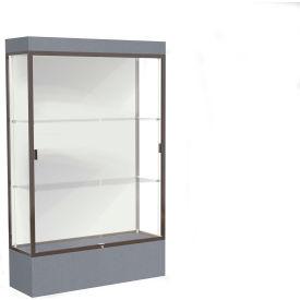 """Edge Lighted Floor Case, White Back, Dark Bronze Frame, 12"""" Carbon Mesh Base, 48""""W x 76""""H x 20""""D"""