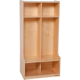 Wood Designs™ Two Section Wood Seat Locker - Natural