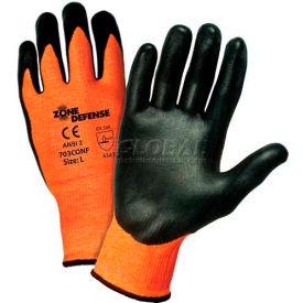 Zone Defense Orange HPPE Shell Cut Resistant Gloves, Black Nitrile Palm Coat, Med Package... by