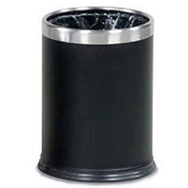 "Two-Piece Round Wastebasket, Black, 3.5 gal., 9.5""Dia x 12.5""H"