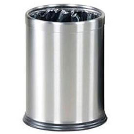 "Two-Piece Round Wastebasket, Stainless Steel, 3.5 gal., 9.5""Dia x 12.5""H"