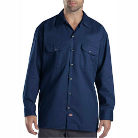 Dickies® Men's Long Sleeve Work Shirt, LT Dark Navy - 574DN
