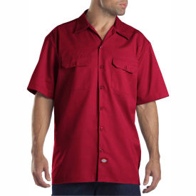 Dickies® Men's Short Sleeve Work Shirt, L English Red - 1574ER
