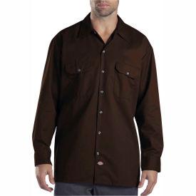 Dickies® Men's Long Sleeve Work Shirt, M Dark Brown - 574DB