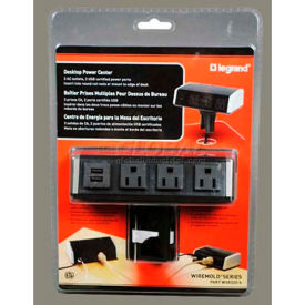 Wiremold WSC320-S Desktop Power Center w/Surge, 900 Joules, 15A, 3- AC Outlets, 2-USB Ports, 6' Cord