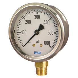 "2.5"" Type 212.53 30INHG/BAR VAC Gauge - 1/4"" NPT LM Stainless Steel"