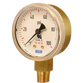 "2"" Type 111.11 200PSI Gauge - 1/4"" NPT LM Polished Brass"