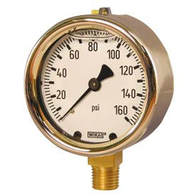 "4"" Type 213.40 100PSI Gauge - 1/2"" NPT LM Forged Brass"