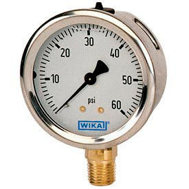 "4"" Type 213.53 30INHG VAC Gauge - 1/4"" NPT LM Stainless Steel"