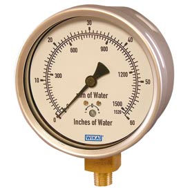 """4"""" Type 612.20 30INH2O/mmH2O VAC Gauge - 1/4"""" NPT LM Stainless Steel"""