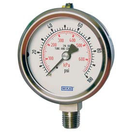 "2.5"" Type 232.53 100PSI Gauge - 1/4"" NPT LM Stainless Steel"