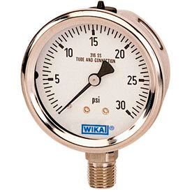 "2.5"" Type 233.53 30INHG/30PSI Gauge - 1/4"" NPT LM Stainless Steel"