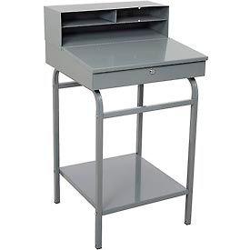 """Winholt RDSWN-2 - 24""""W x 22""""D Open Steel Receiving Desk - Gray"""