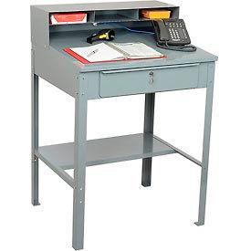 """32-1/2""""W x 30""""D Open Steel Receiving Desk - Gray"""