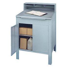 "32-1/2""W x 30""D Enclosed Steel Receiving Desk - Gray"