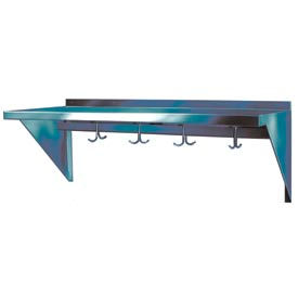 "Stainless Steel Wall Mounted Shelf, 10"" x 96"" Shelf with Hooks"