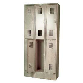 "Winholt Double Tier Locker WL-6 12""W x 12""D x 36""H 3 Wide Putty Assembled"