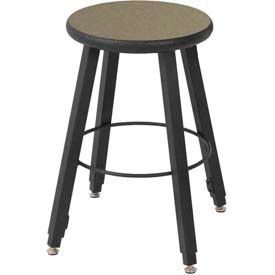 "WB Mfg 14"" Dia. Solid Welded Stool with Adjustable Legs, Gray Nebula Laminate Seat"