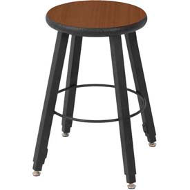 "WB Mfg 14"" Dia. Solid Welded Stool with Adjustable Legs, Montana Walnut Laminate Seat"