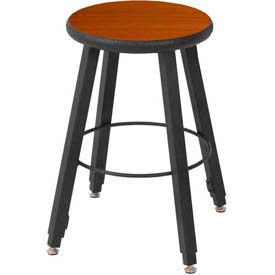 """WB Mfg 14"""" Dia. Solid Welded Stool with Adjustable Legs, Wild Cherry Laminate Seat"""