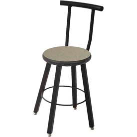 """WB Mfg 14"""" Dia. Solid Welded Stool with Backrest & Fixed Legs, Gray Nebula Laminate Seat"""