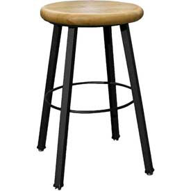 """WB Mfg 14"""" Dia. Solid Welded Stool with Fixed Legs, Clear Lacquer Hardwood Seat"""