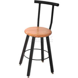 "WB Mfg 14"" Dia. Solid Welded Stool with Backrest & Fixed Legs, Clear Lacquer Hardwood Seat"