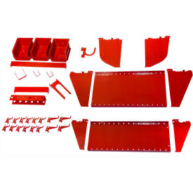Wall Control Slotted Tool Board Workstation Accessory Kit For Pegboard & Slotted Tool Board, Red