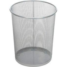 Rubbermaid® Round Steel Wire Mesh Wastebasket, Silver, 5 Gal., FGWMB20SLV