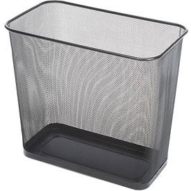 Rubbermaid® Rectangular Steel Mesh Wastebasket, 7.5 Gal. Black, FGWMB30RBK