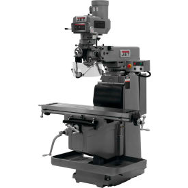 JET JTM-1254RVS Mill - Acu-Rite 300S 3X DRO (Quill), X, Y and Z-Axis Powerfeeds - Air Power Drawbar