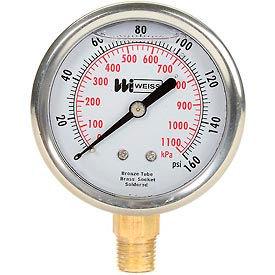 "2 1/2"" dial, liquid filled, 1/4"" NPT bottom, 0-160 PSI"