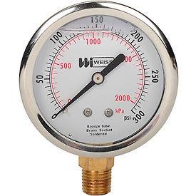 "2 1/2"" dial, liquid filled, 1/4"" NPT bottom, 0-300 PSI"