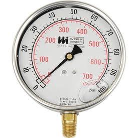 "Weiss LF441-060-4L, 4"" dial , liquid filled, 1/4"" bottom, 0-60PSI"