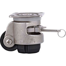 WMI® Stainless Steel Leveling Caster WMISR-80F - 880 Lbs. - Ratchet Mechanism - Plate Mounted