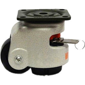 WMI® Built-In Rotation Handle Leveling Caster WMIWR-62PF - 550 Lb. Capacity - Plate Mounted
