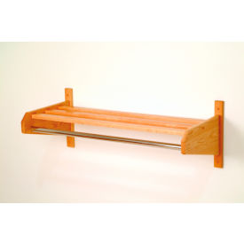 "33 3/4"" Hat & Coat Rack w/ 5/8"" Chrome Bar - Light Oak"