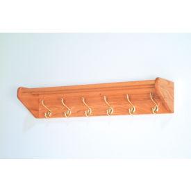 """36 3/4"""" Hat & Coat Rack with 6 Brass Hooks - Light Oak"""