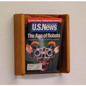 1 Pocket Acrylic & Oak Wall Display - Medium Oak