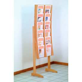 12 Pocket Contemporary Floor Display - Light Oak