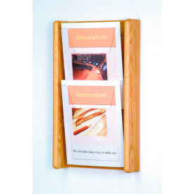 2 Pocket (2H) Acrylic & Oak Wall Display - Light Oak
