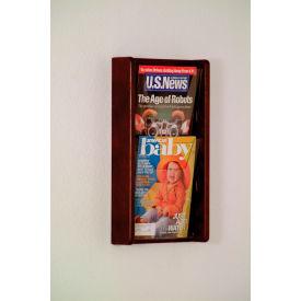 2 Pocket (2H) Acrylic & Oak Wall Display - Mahogany