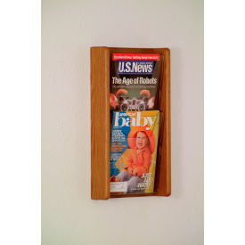 2 Pocket (2H) Acrylic & Oak Wall Display - Medium Oak