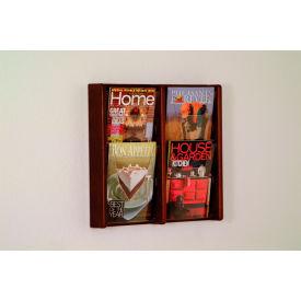 4 Pocket (2Wx2H) Acrylic & Oak Wall Display - Mahogany