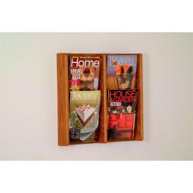 4 Pocket (2Wx2H) Acrylic & Oak Wall Display - Medium Oak