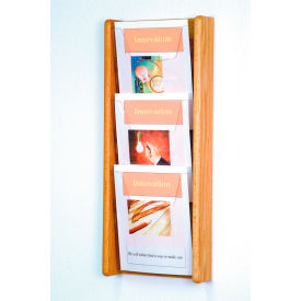 3 Pocket (3H) Acrylic & Oak Wall Display - Light Oak